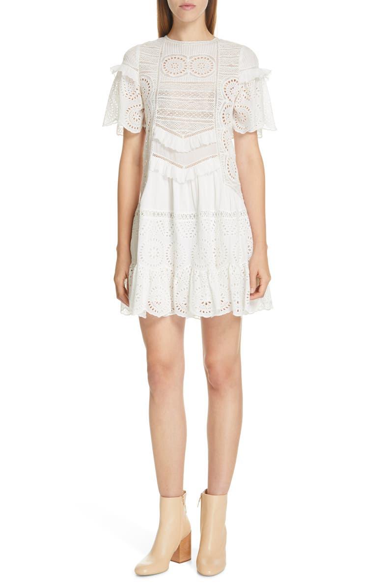 SEA Zinnia Eyelet & Lace Shift Dress, Main, color, 100
