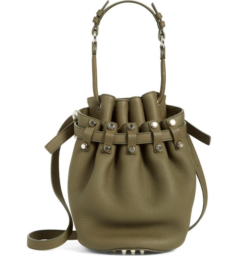 ALEXANDER WANG 'Small Diego - Nickel' Leather Bucket Bag, Main, color, 342