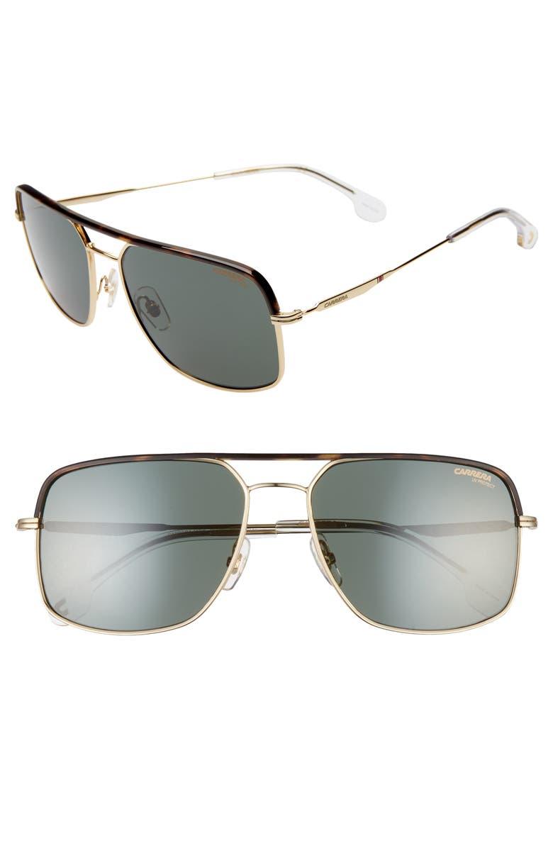 CARRERA EYEWEAR 60mm Gradient Aviator Sunglasses, Main, color, GOLD GREEN