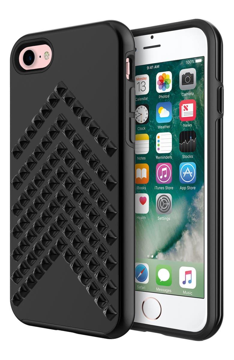 REBECCA MINKOFF Chevron Stud iPhone 7 Case, Main, color, 001