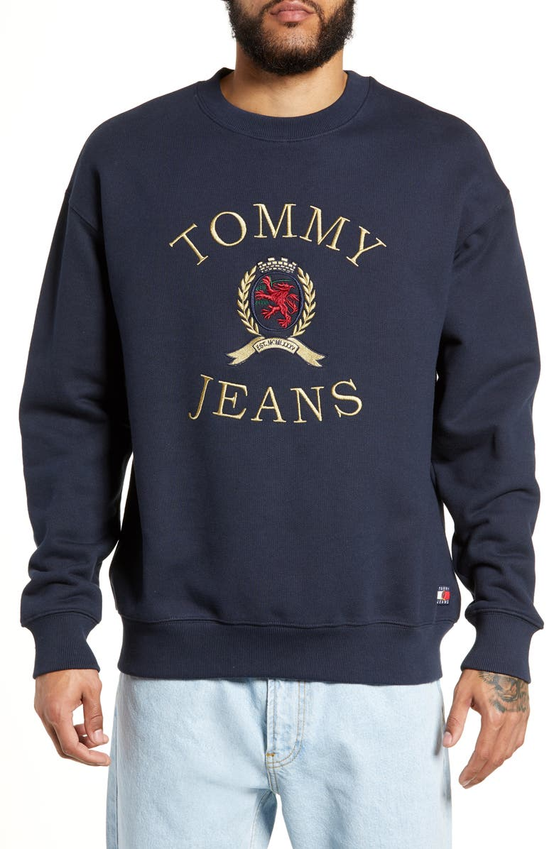 TOMMY JEANS Embroidered Crest Sweatshirt, Main, color, DARK SAPPHIRE