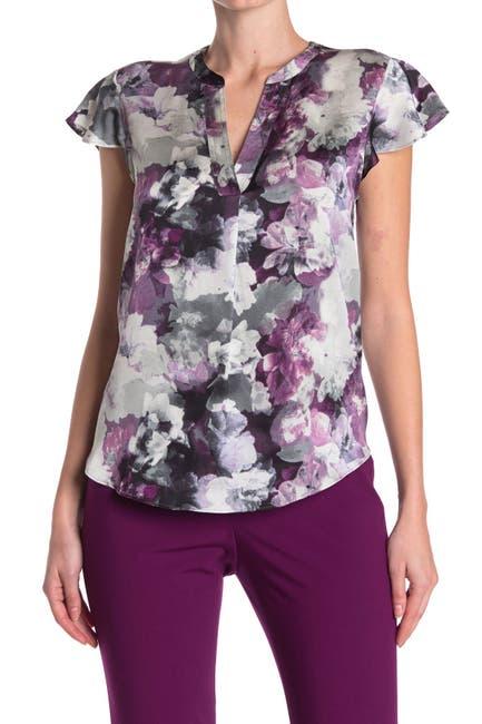 Image of Calvin Klein Floral Flutter Sleeve Blouse