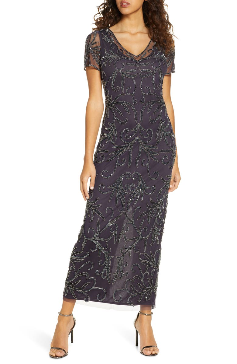 PISARRO NIGHTS Illusion Beaded Mesh Gown, Main, color, EGGPLANT