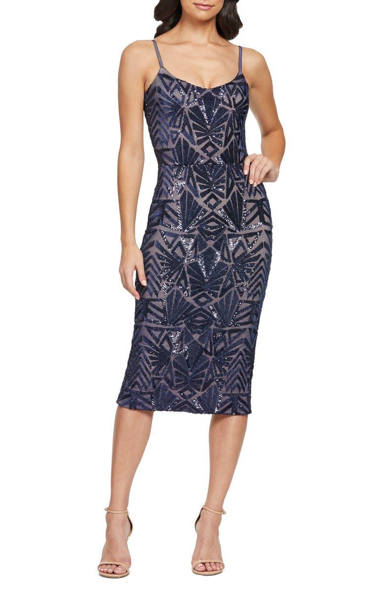 DRESS THE POPULATION Alexa Sequin Midi Dress, Main, color, 410