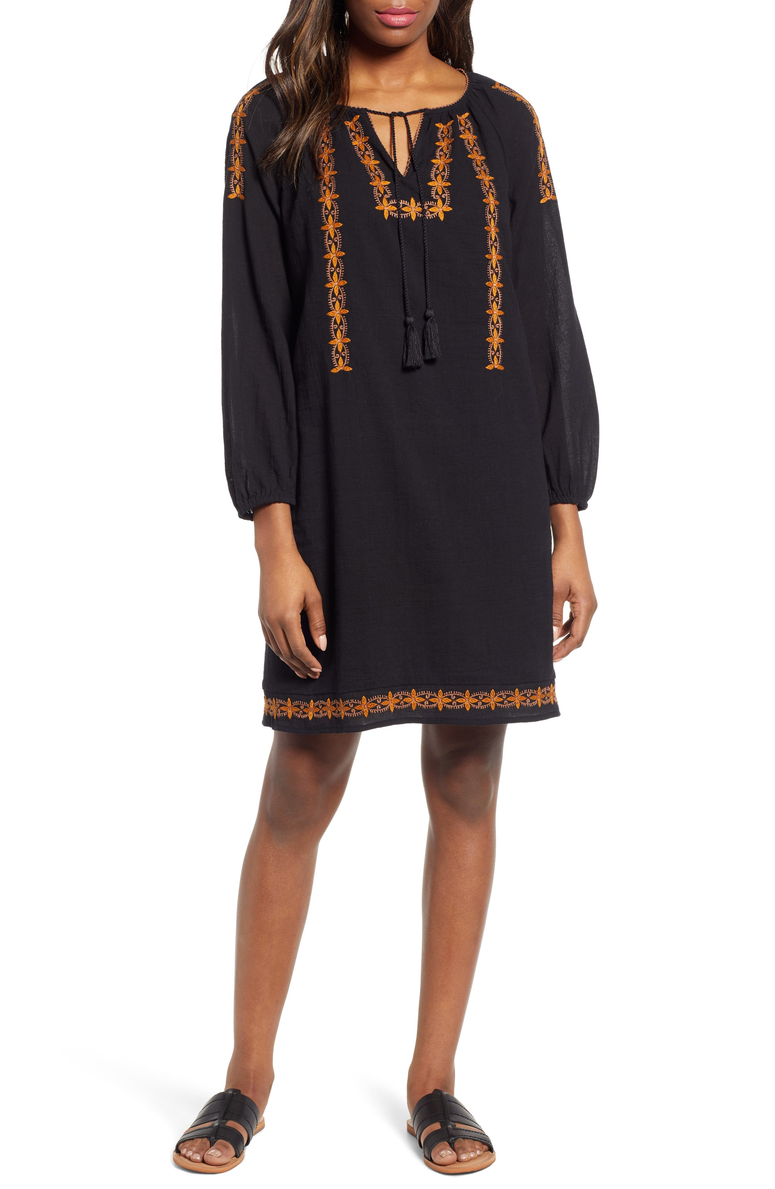 70s Dresses – Disco Dress, Hippie Dress, Wrap Dress Womens Lucky Brand Kelly Shift Dress $119.00 AT vintagedancer.com