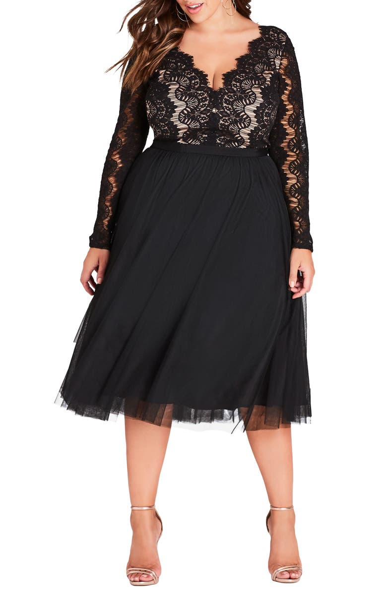 CITY CHIC Rare Beauty Lace Fit & Flare Dress, Main, color, BLACK