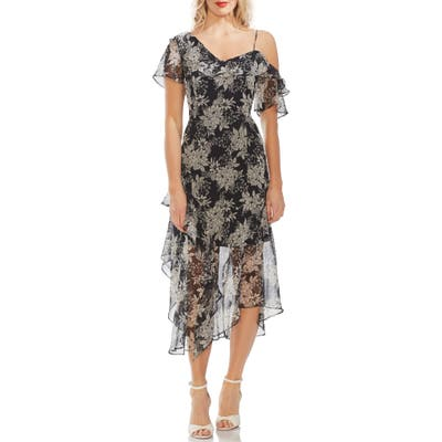 Vince Camuto Boudoir Botanical Ruffled One-Shoulder Party Dress, Black