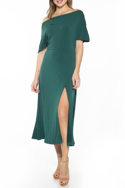 Image of Alexia Admor Kaelyn Draped One Shoulder Floral Midi Dress