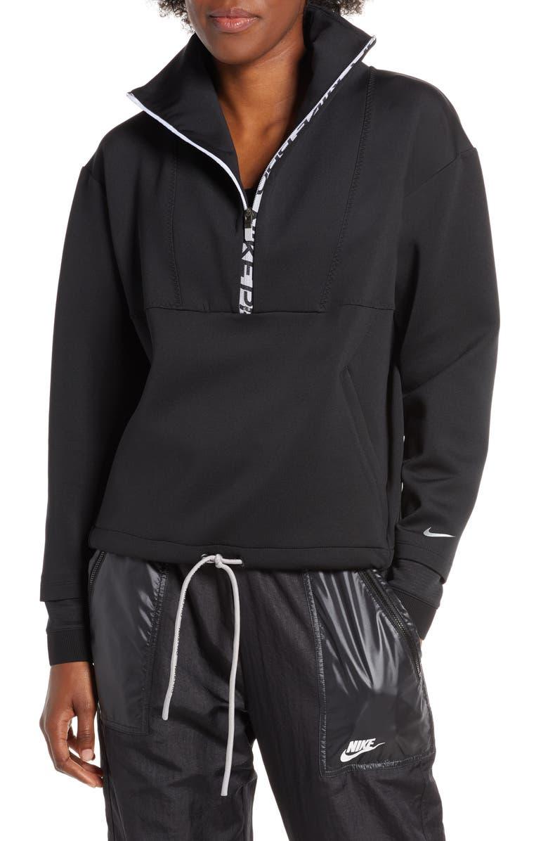 NIKE Pro Dri-FIT Fleece Crop Half Zip Top, Main, color, BLACK/ METALLIC SILVER