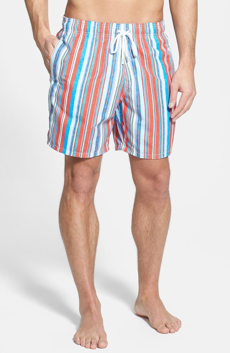 BUGATCHI Stripe Swim Trunks, Main, color, 602