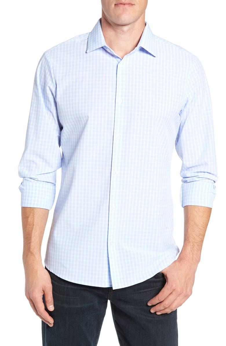 MIZZEN+MAIN Williams Multicheck Performance Shirt, Main, color, BLUE