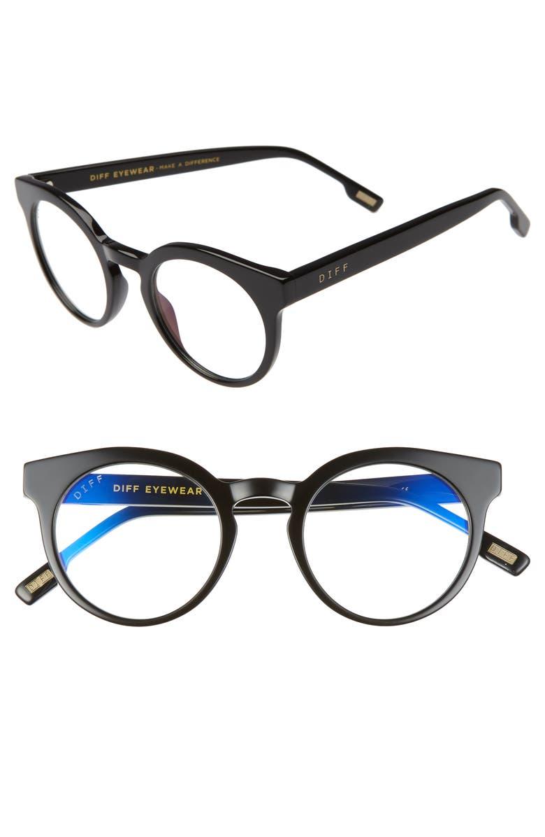 DIFF Selena 47mm Optical Glasses, Main, color, BLACK/ BLUE LIGHT