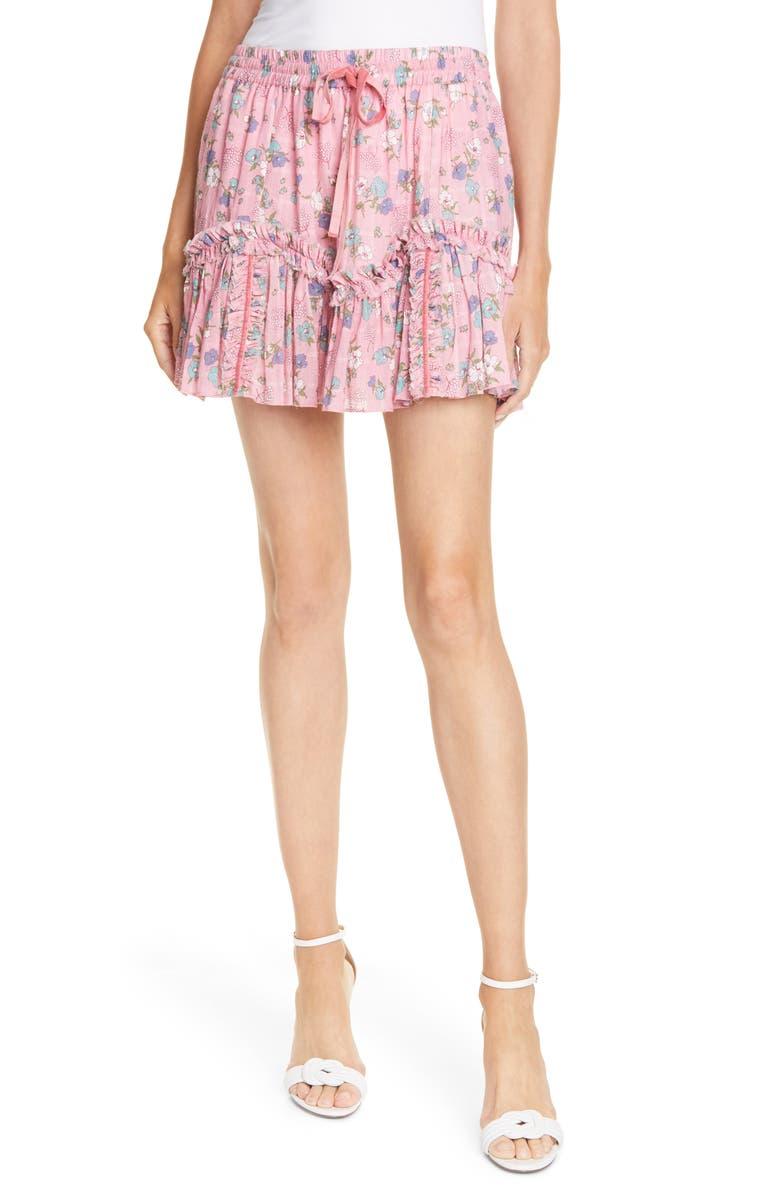 LOVESHACKFANCY Becca Floral Ruffle Miniskirt, Main, color, HOLLYWOOD PINK