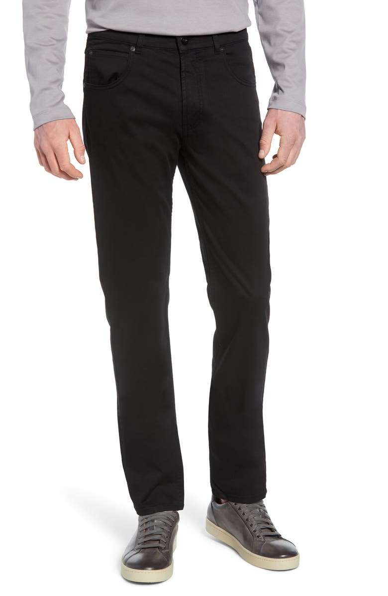 BUGATCHI Slim Straight Leg Five-Pocket Pants, Main, color, BLACK