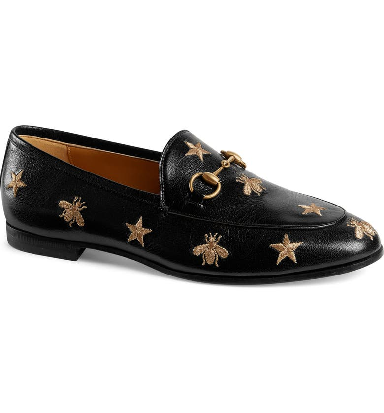 GUCCI Jordaan Embroidered Bee Loafer, Main, color, 001