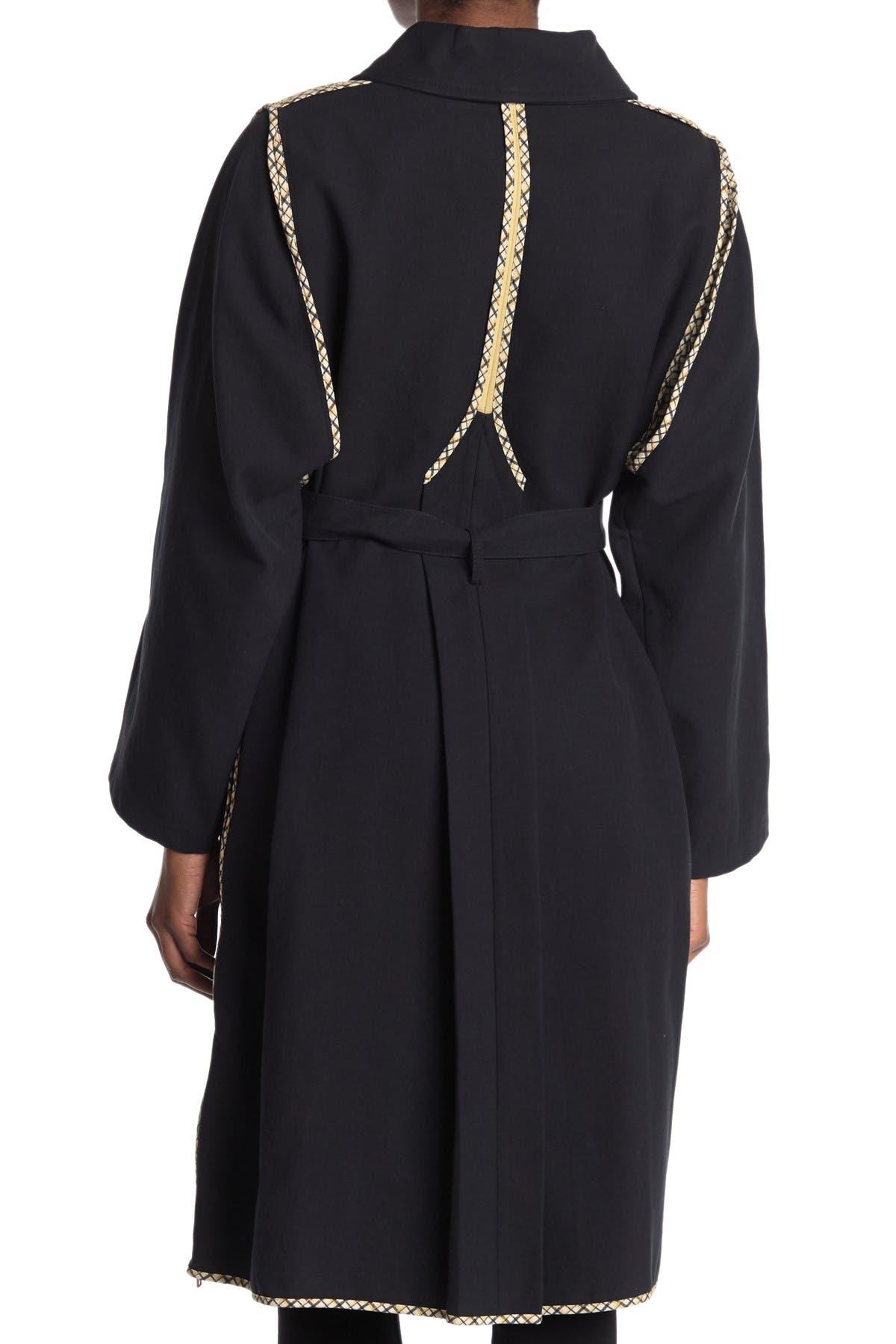 Image of See By Chloe Plaid Trim Long Line Zip Coat