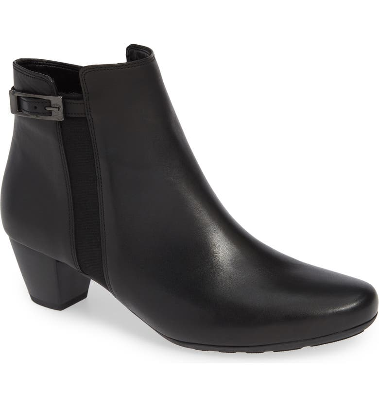 GABOR Side Buckle Bootie, Main, color, BLACK LEATHER