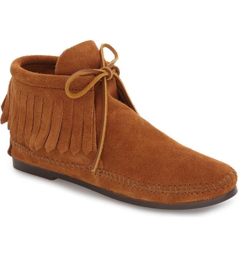 MINNETONKA Classic Fringed Chukka Style Boot, Main, color, BROWN