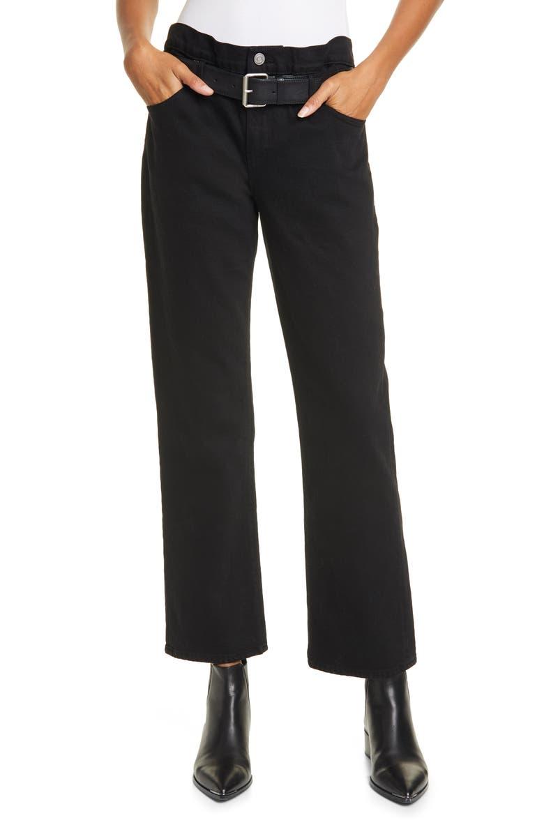 RTA Dexter Belted High Waist Boyfriend Jeans, Main, color, BLACK SOFT