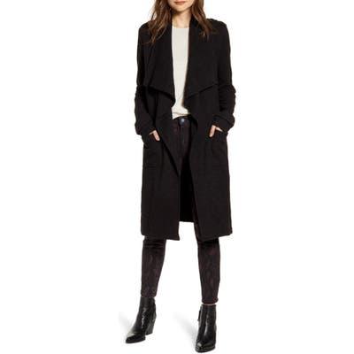 Bb Dakota Revolution Drapey Boucle Trench Coat, Black
