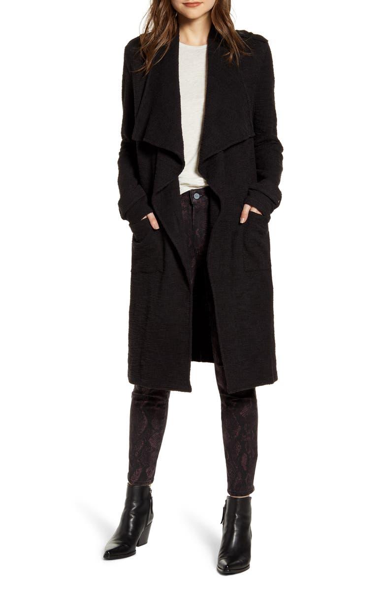 BB DAKOTA Revolution Drapey Bouclé Trench Coat, Main, color, BLACK