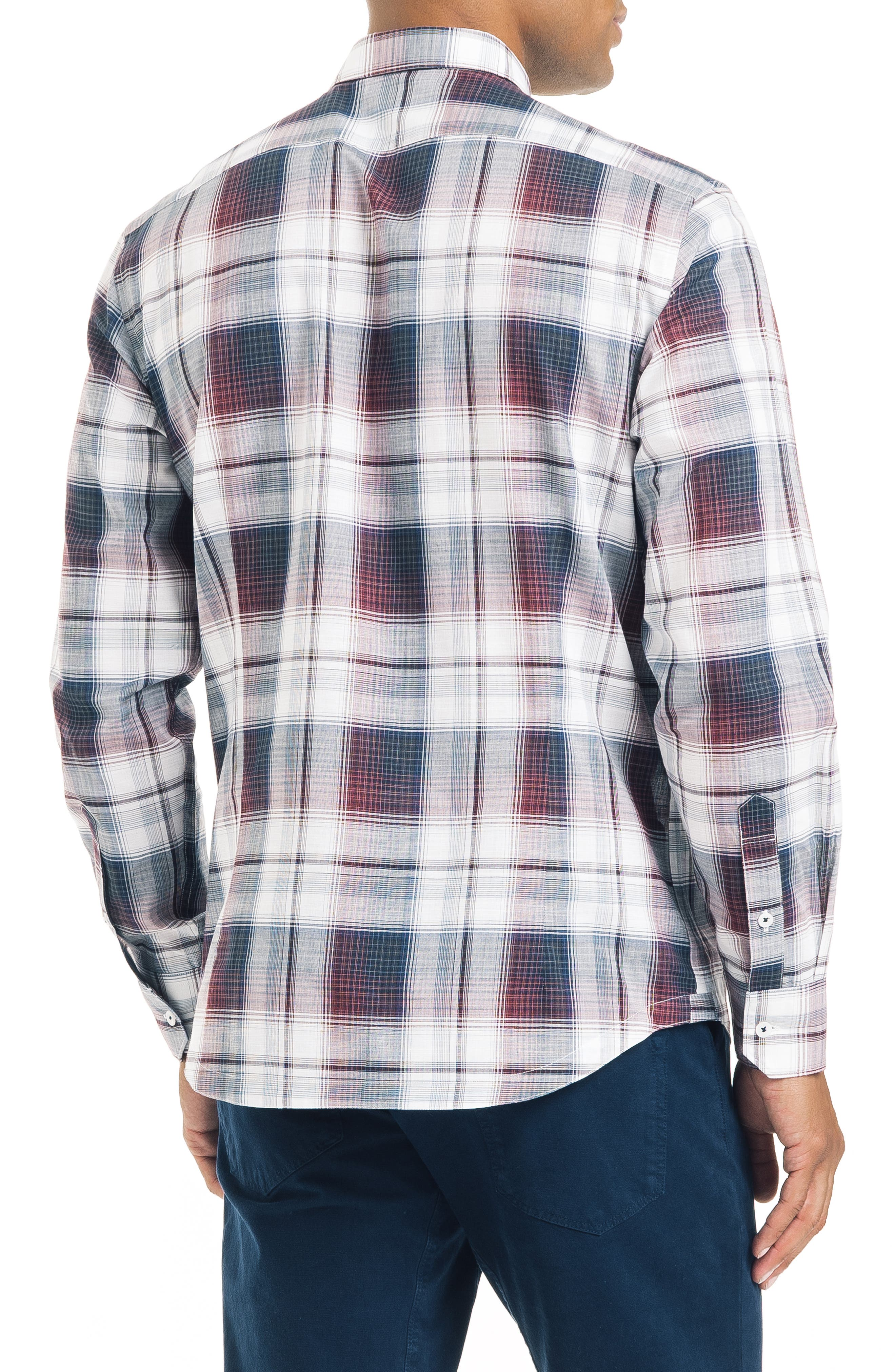 ,                             Slim Fit Plaid Sport Shirt,                             Alternate thumbnail 3, color,                             WHITE