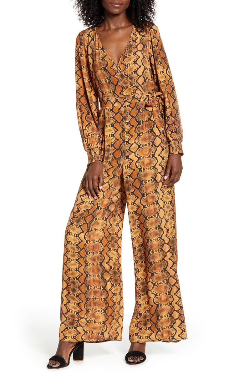 BAND OF GYPSIES Mappelle Long Sleeve Faux Wrap Wide Leg Jumpsuit, Main, color, GOLD SNAKE