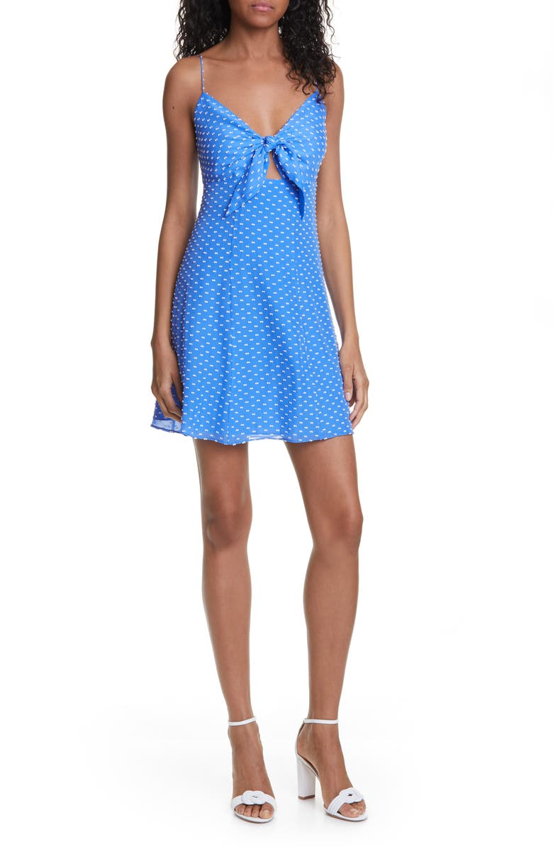 ALICE + OLIVIA Roe Tie Front Cocktail Dress, Main, color, IMPERIAL BLUE/ WHITE