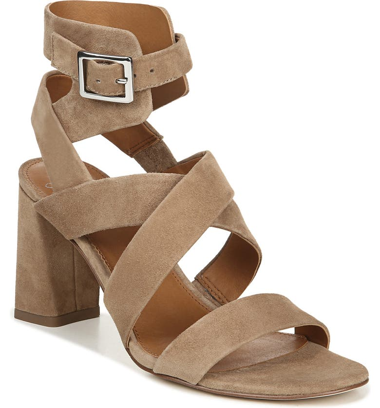 SARTO BY FRANCO SARTO Tristan Strappy Block Heel Sandal, Main, color, TAUPE SUEDE