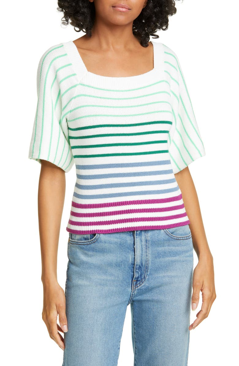 KATE SPADE NEW YORK stripe square neck sweater, Main, color, 900