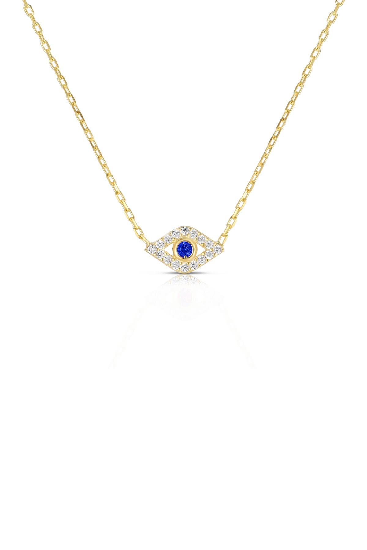 Sphera Milano 14K Yellow Gold Plated Sterling Silver Pave CZ Evil Eye Pendant Necklace at Nordstrom Rack