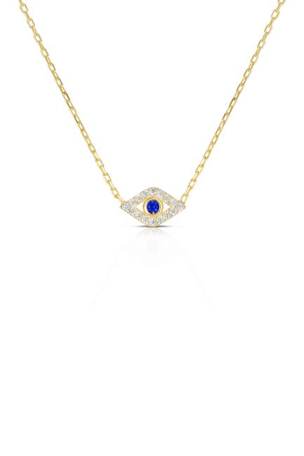 Image of Sphera Milano 14K Yellow Gold Plated Sterling Silver Pave CZ Evil Eye Pendant Necklace