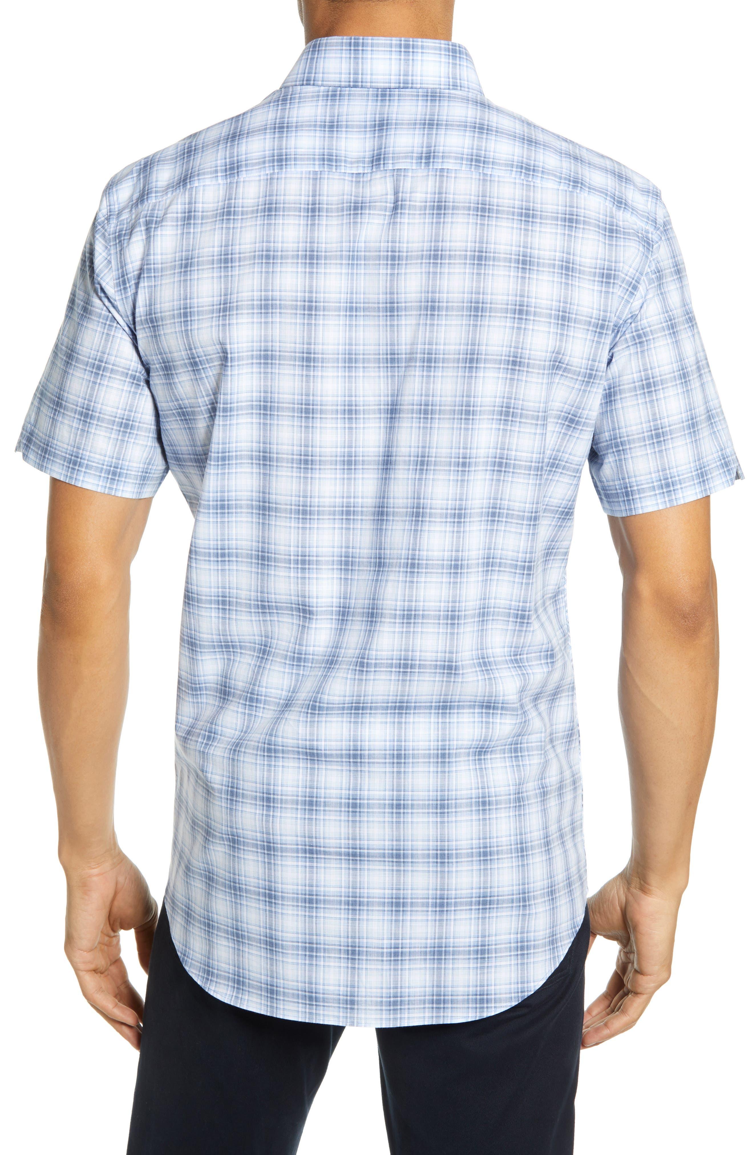 ,                             Bianco Regular Fit Plaid Sport Shirt,                             Alternate thumbnail 3, color,                             LIGHT BLUE