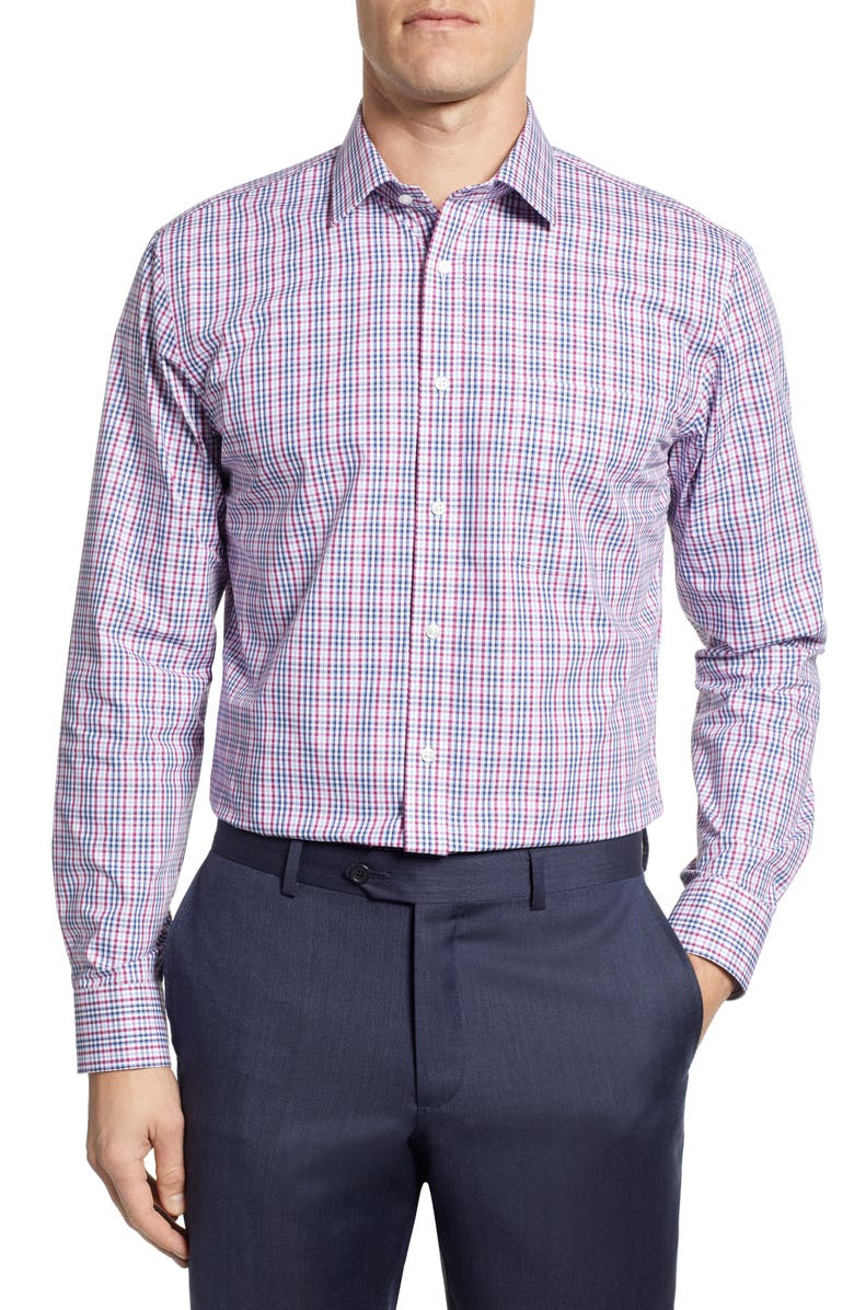 NORDSTROM MEN'S SHOP Non-Iron Trim Fit Plaid Dress Shirt, Main, color, PURPLE BOYSEN