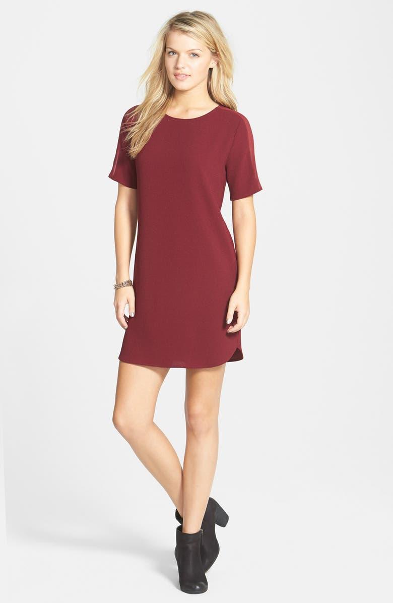 EVERLY Sheer Trim Shift Dress, Main, color, WINE