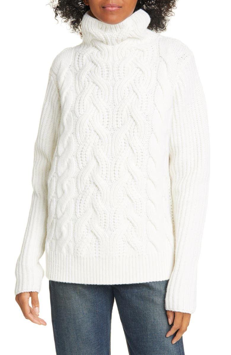 HELMUT LANG Cable Knit Lambswool Sweater, Main, color, SALT