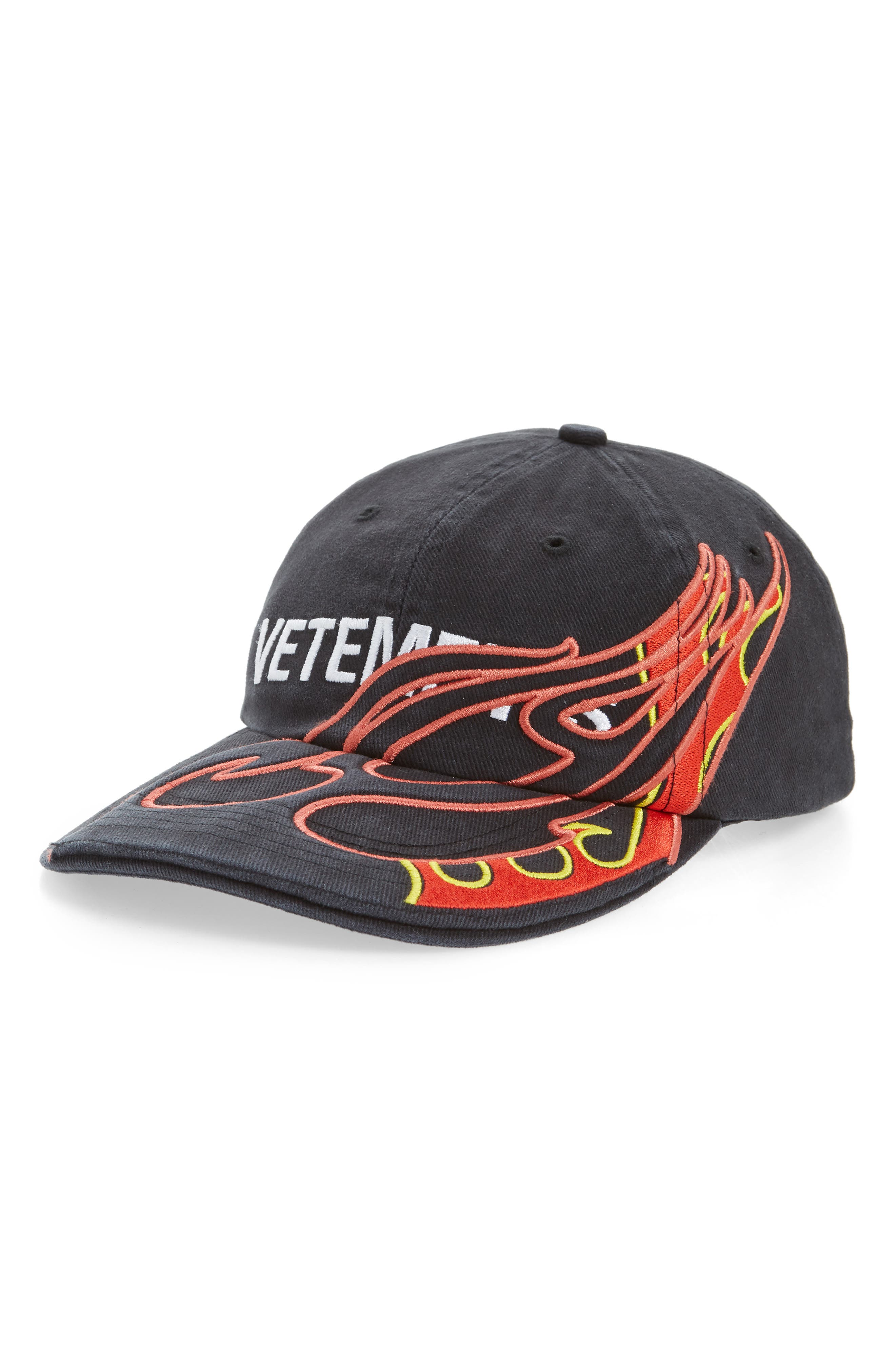 Fire Logo Baseball Cap, Main, color, BLACK