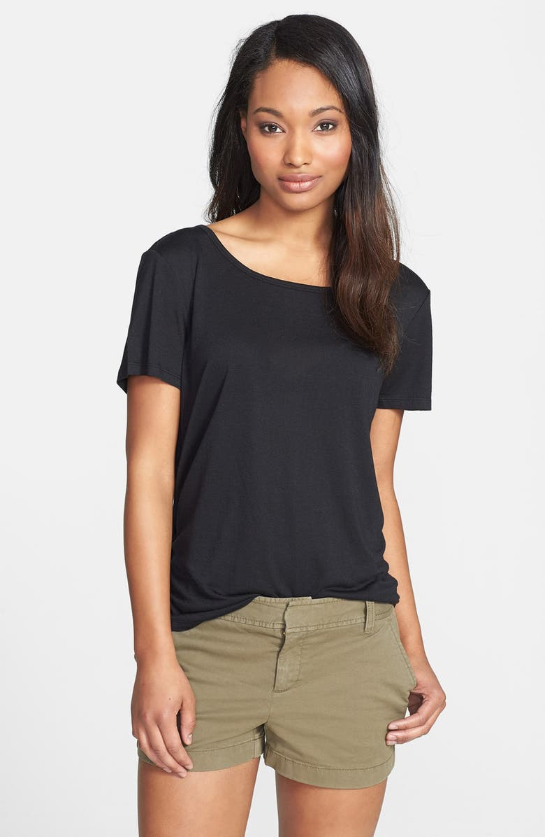 HALOGEN<SUP>®</SUP> Short Sleeve Modal & Linen Tee, Main, color, 001