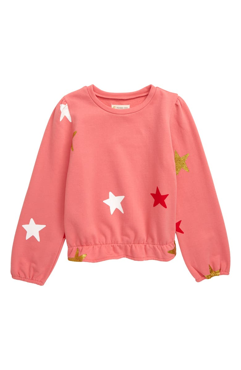 TUCKER + TATE Sparkle Fleece Sweatshirt, Main, color, PINK DUNE SPARKLE STARS