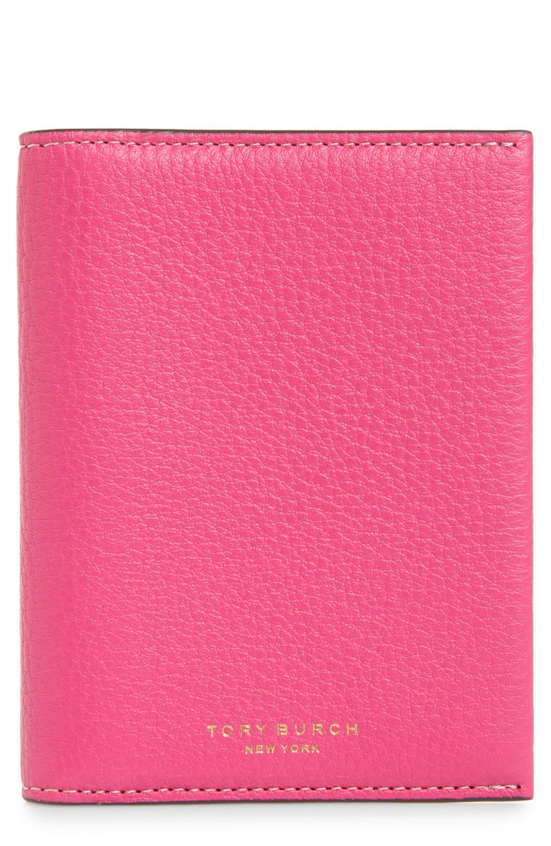 TORY BURCH Perry Leather Passport Holder, Main, color, CRAZY PINK / BRILLIANT RED