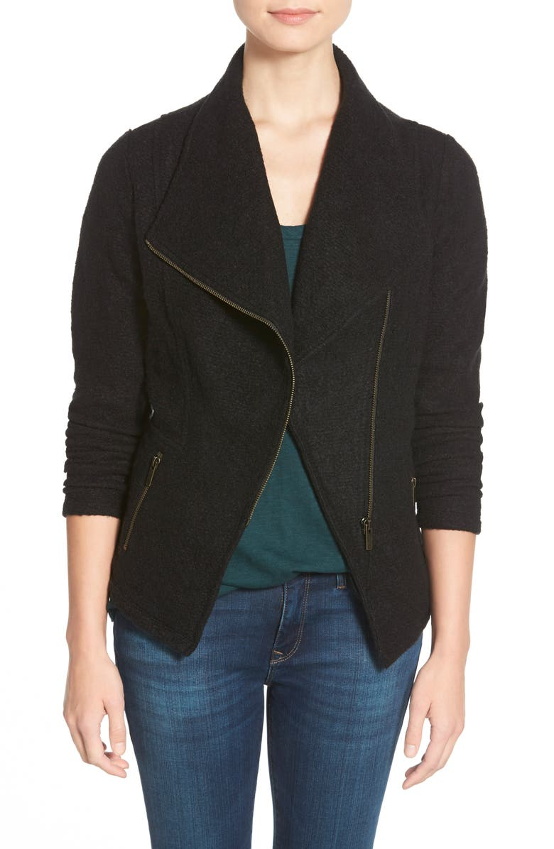 HALOGEN<SUP>®</SUP> Knit Moto Jacket, Main, color, BLACK