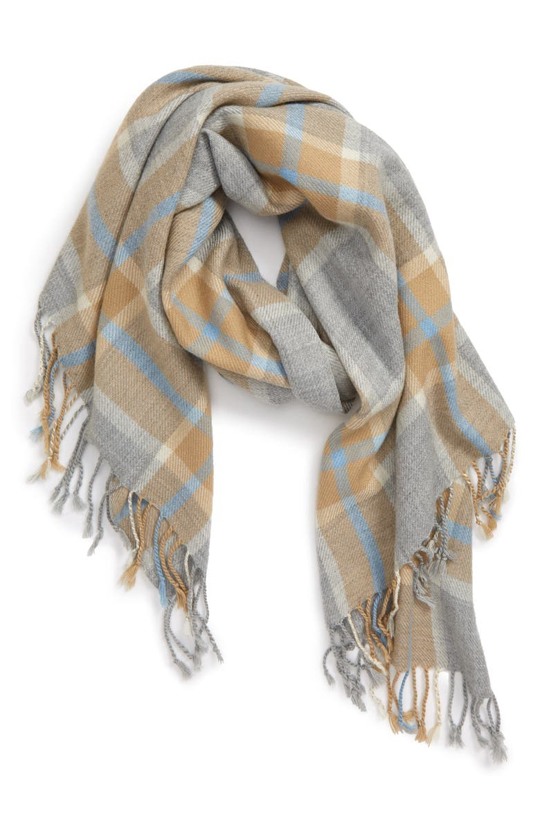 SOLE SOCIETY Plaid Fringe Scarf, Main, color, GREY/ BROWN MULTI