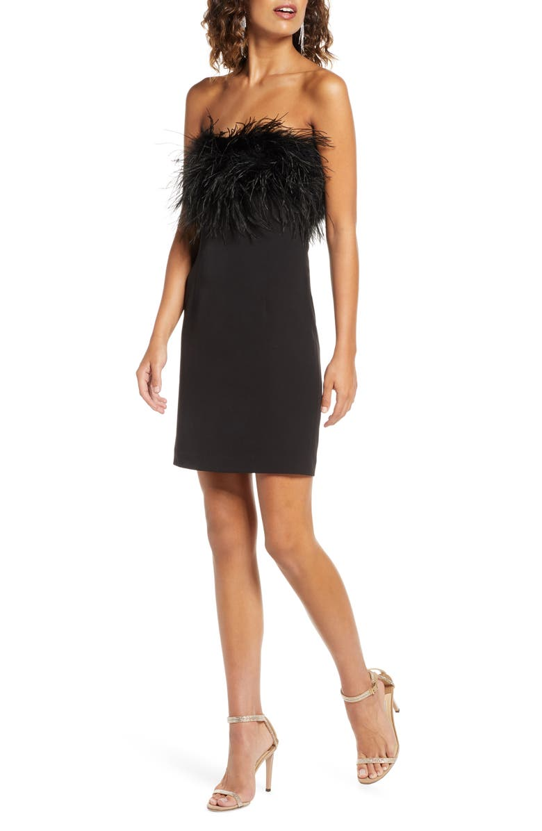 BARDOT Strapless Feather Neck Cocktail Dress, Main, color, BLACK