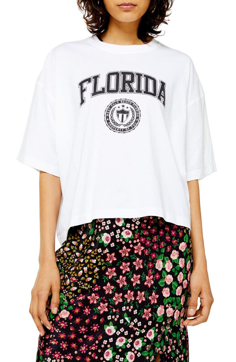 TOPSHOP Florida Washed Graphic Tee, Main, color, WHITE MULTI