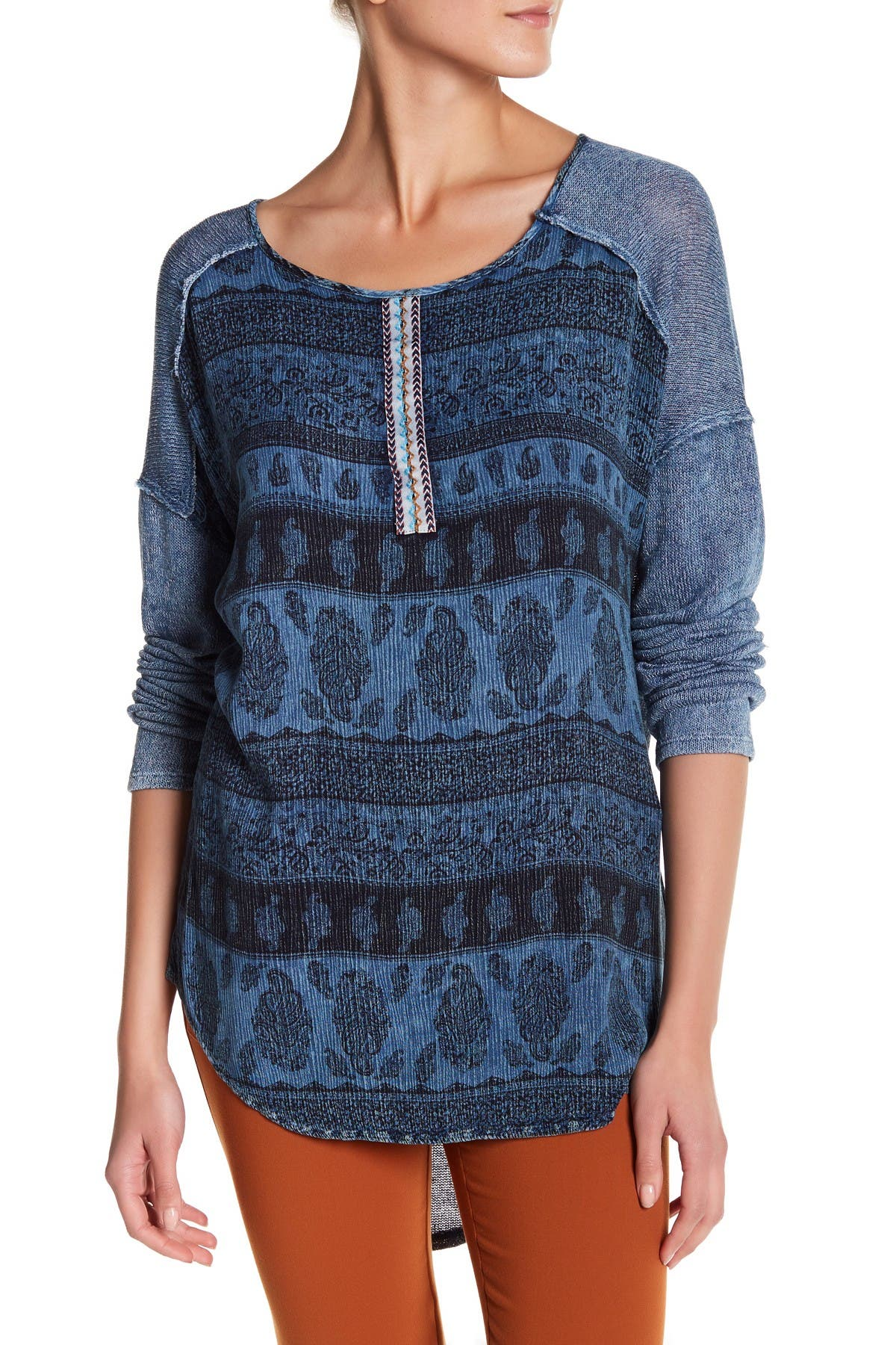 Image of Blu Pepper Embroidered Hi-Lo Sweater