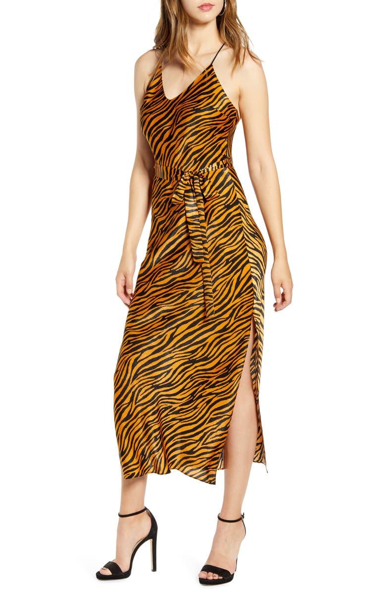 J.O.A. Animal Print Strappy Satin Midi Dress, Main, color, GINGER TIGER