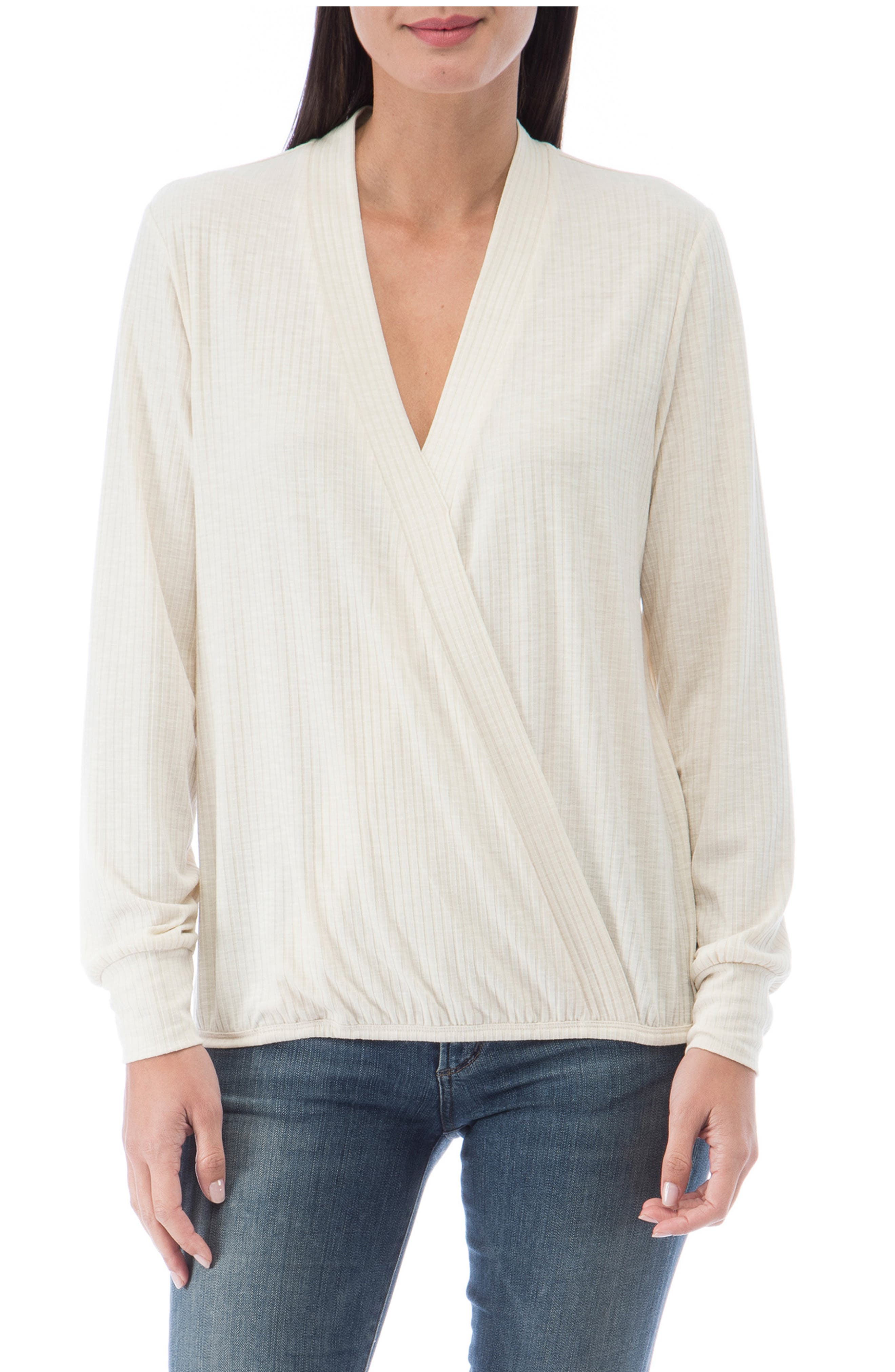 A heathered rib amplifies the coziness of this versatile top with a wrap-inspired silhouette. Style Name: Bobeau Mavis Surplice Top. Style Number: 6092582. Available in stores.