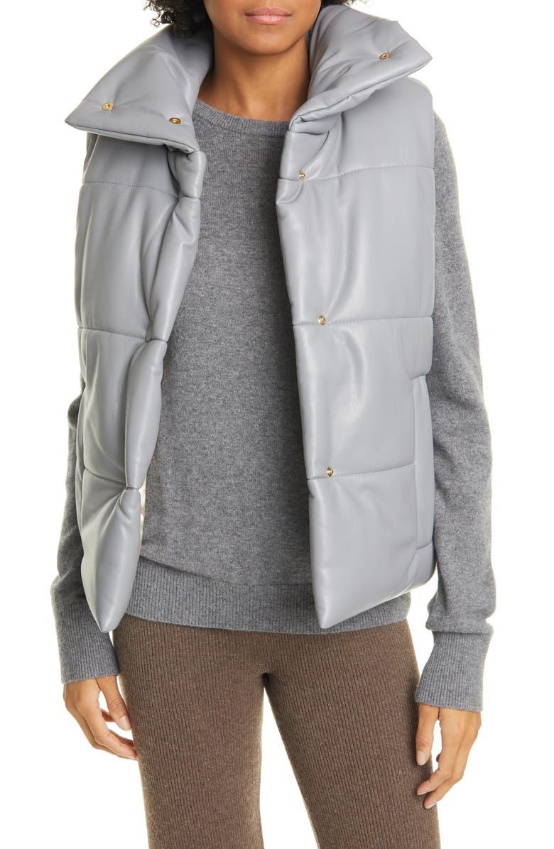 NANUSHKA Morillo Vegan Leather Puffer Vest, Main, color, DUSK BLUE
