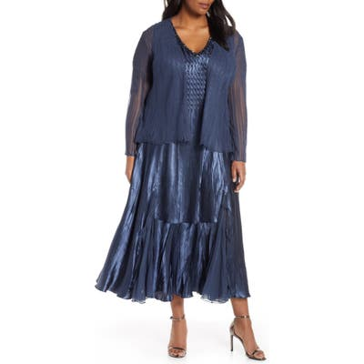 Plus Size Komarov Embellished Midi Dress With Jacket, Blue