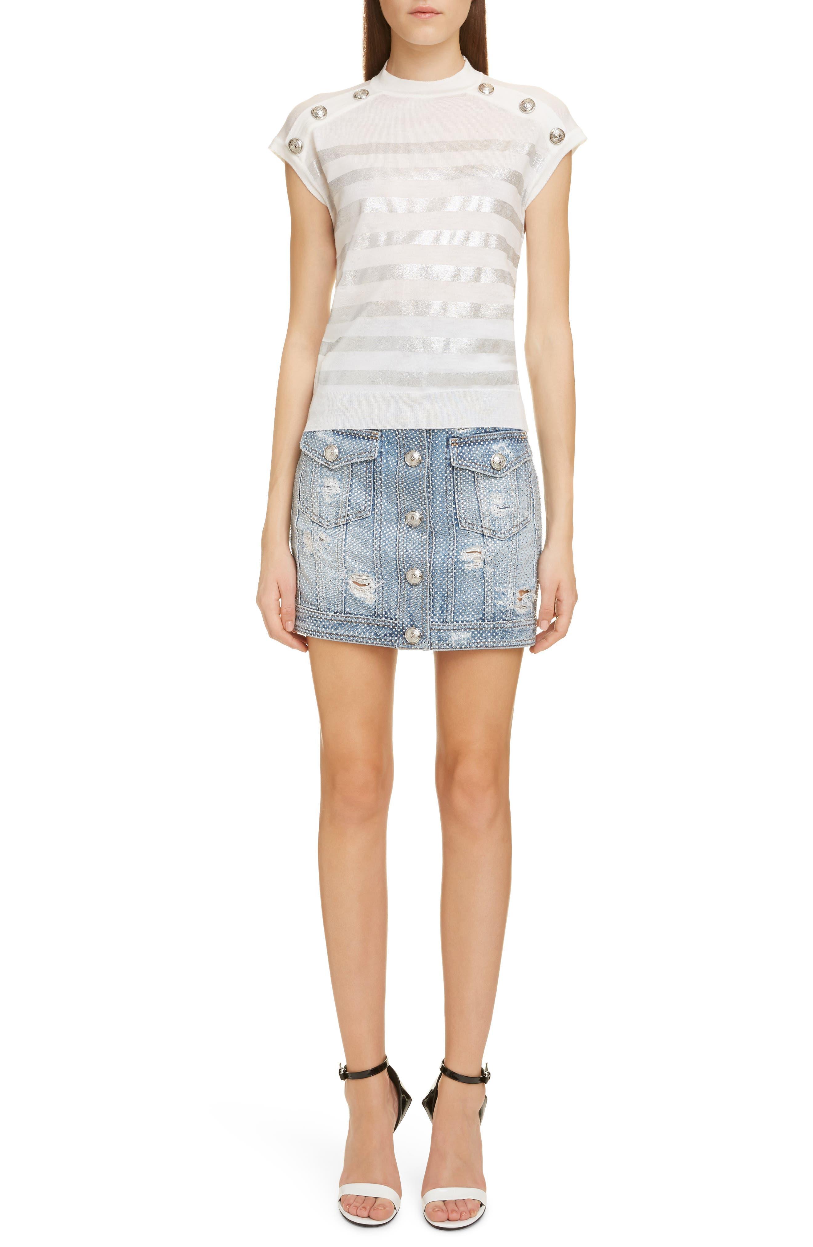 ,                             Crystal Studded Denim Skirt,                             Alternate thumbnail 6, color,                             SAD BLEU/ ARGENT
